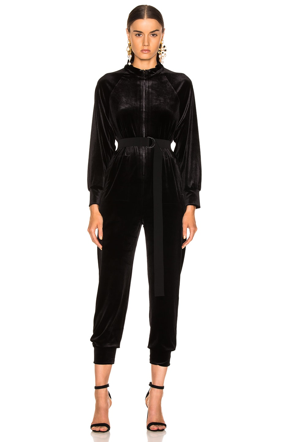 Image 2 of Norma Kamali Turtle Raglan Velvet Jumpsuit in Black