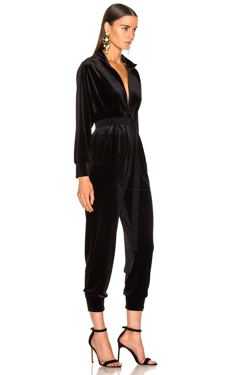 Image 3 of Norma Kamali Turtle Raglan Velvet Jumpsuit in Black