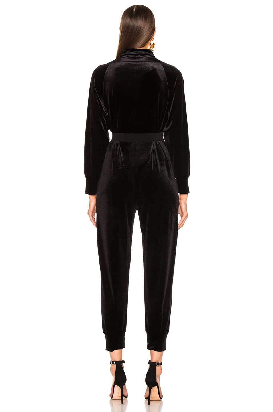 Image 4 of Norma Kamali Turtle Raglan Velvet Jumpsuit in Black
