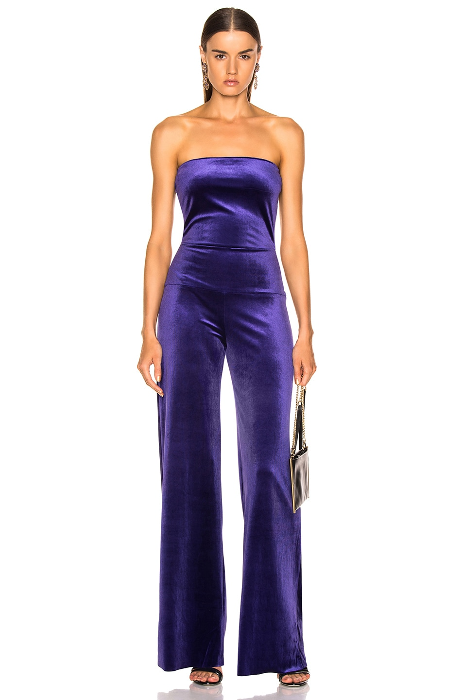Image 1 of Norma Kamali for FWRD Strapless Velvet Jumpsuit in Purple