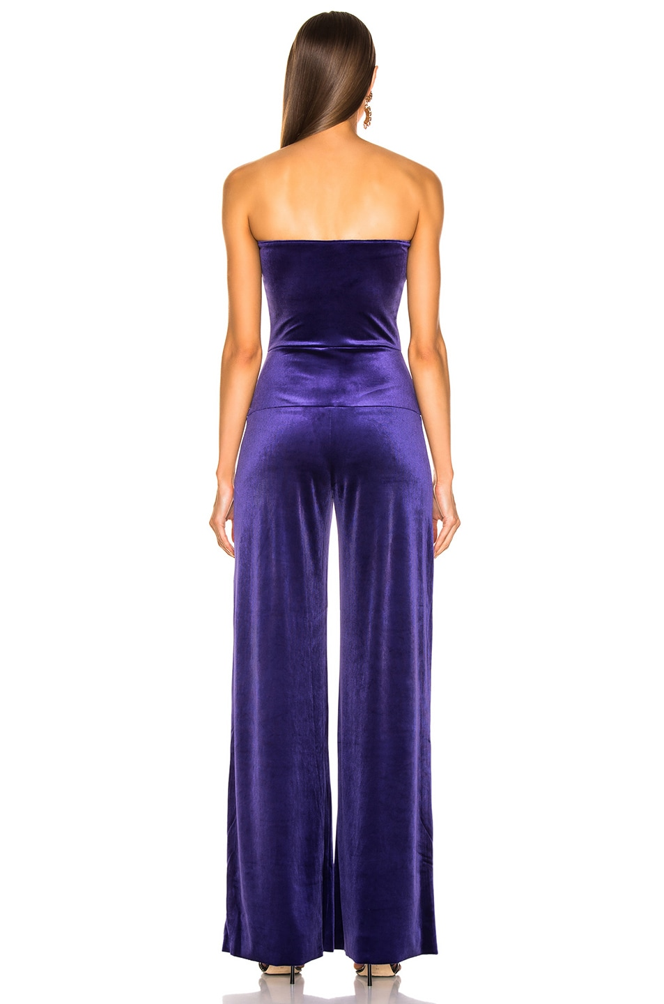 Image 3 of Norma Kamali for FWRD Strapless Velvet Jumpsuit in Purple