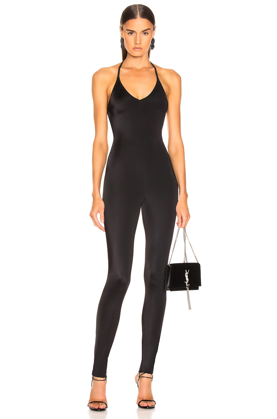 Image 2 of Norma Kamali Low Back Fara Slio Catsuit in Black