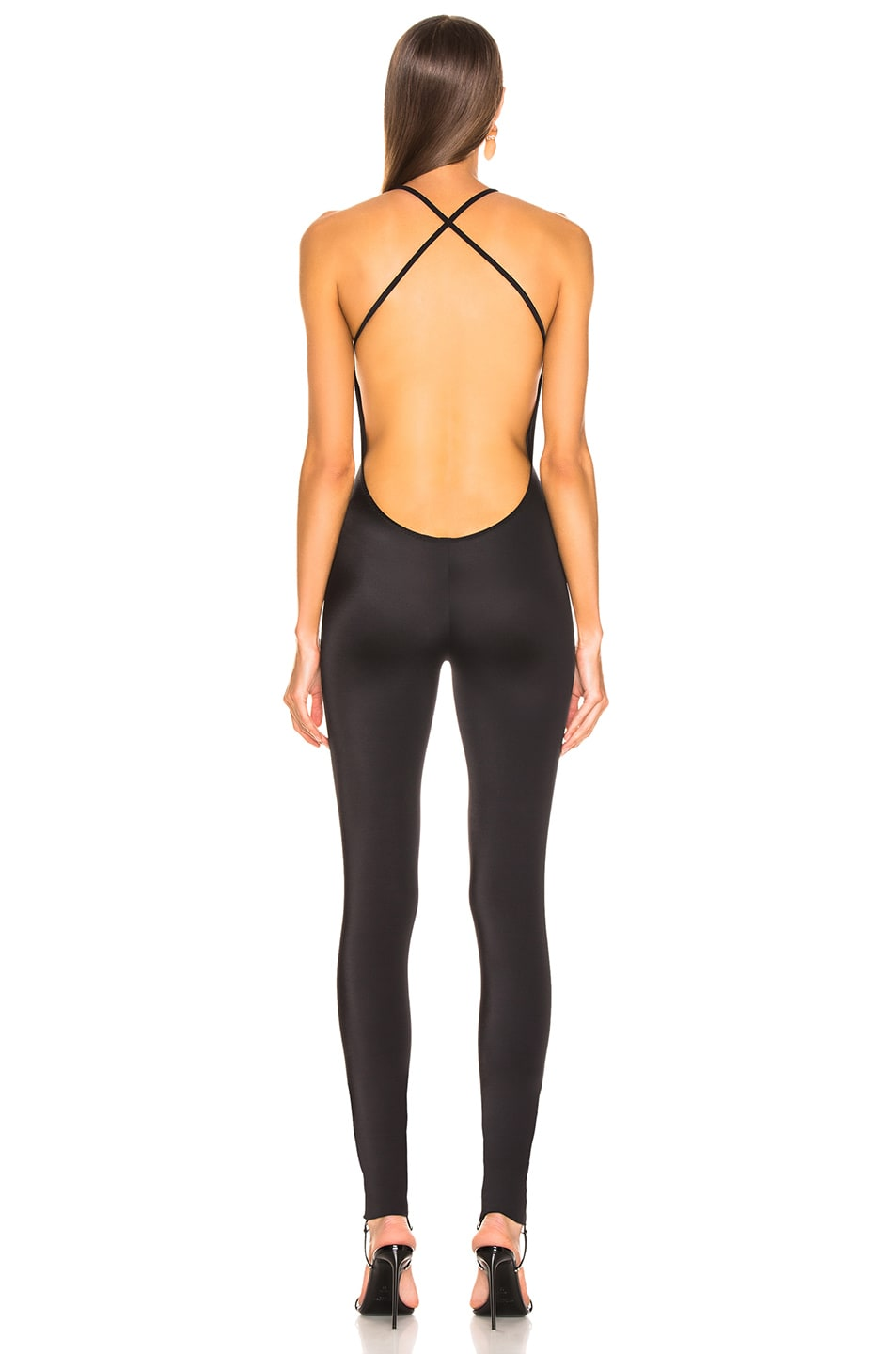Image 4 of Norma Kamali Low Back Fara Slio Catsuit in Black