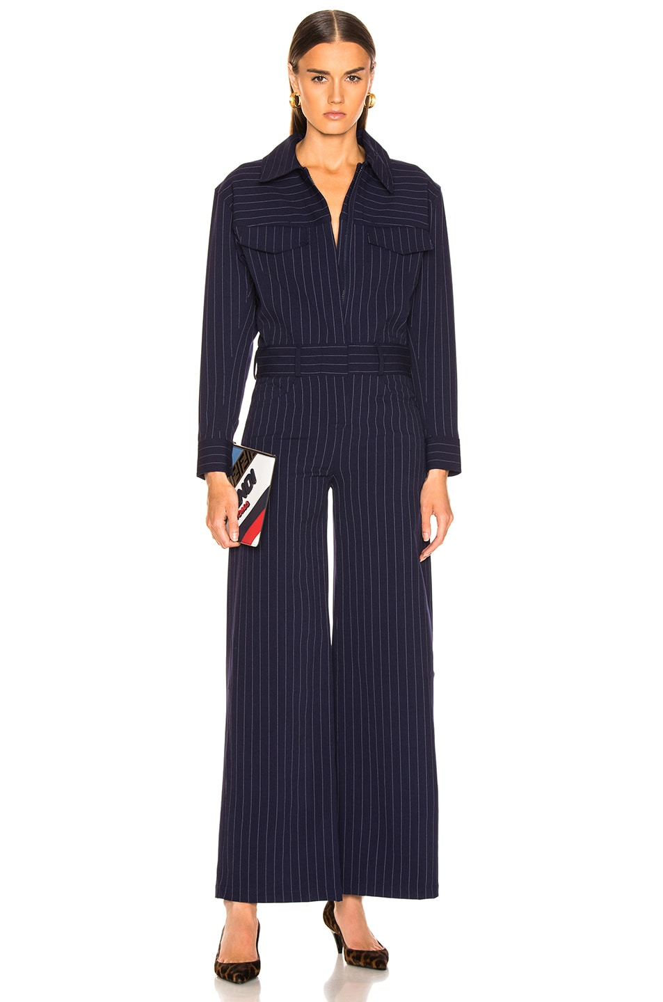 Image 1 of Norma Kamali Oversized Jumpsuit in Blue Pinstripe