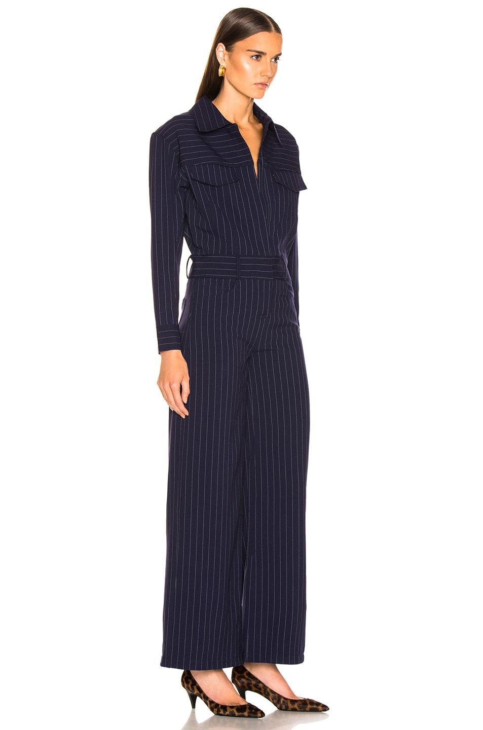 Image 2 of Norma Kamali Oversized Jumpsuit in Blue Pinstripe