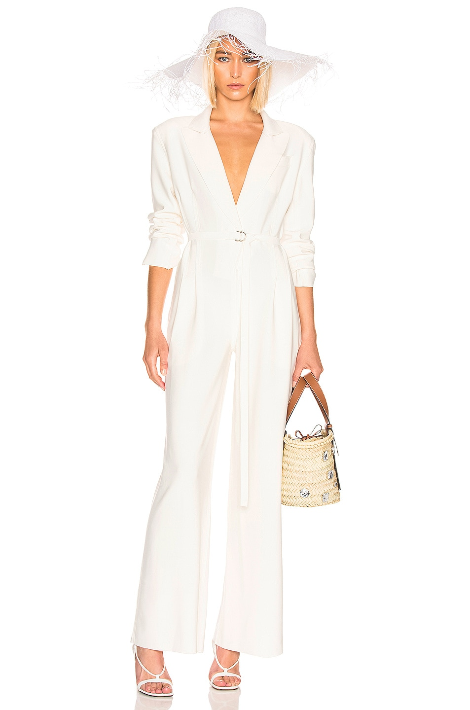 Image 1 of Norma Kamali Single Breasted Straight Leg Jumpsuit in Ivory