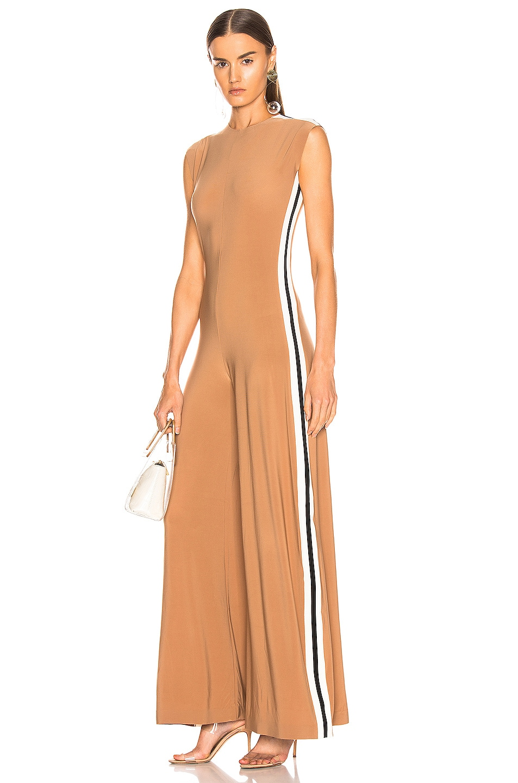 Image 1 of Norma Kamali Side Stripe Sleeveless Jumpsuit in Suntan