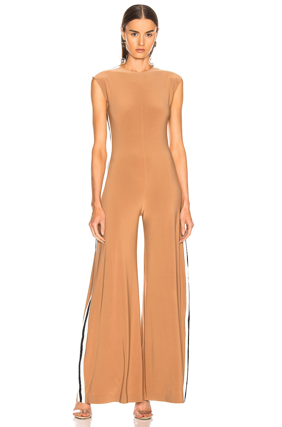 Image 2 of Norma Kamali Side Stripe Sleeveless Jumpsuit in Suntan