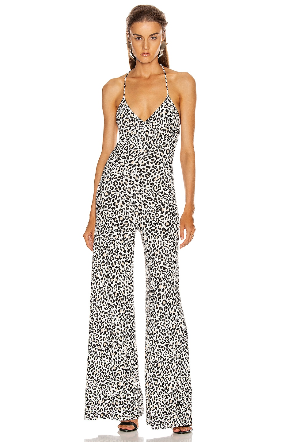 Image 1 of Norma Kamali Low Back Slip Jumpsuit in Baby Leopard