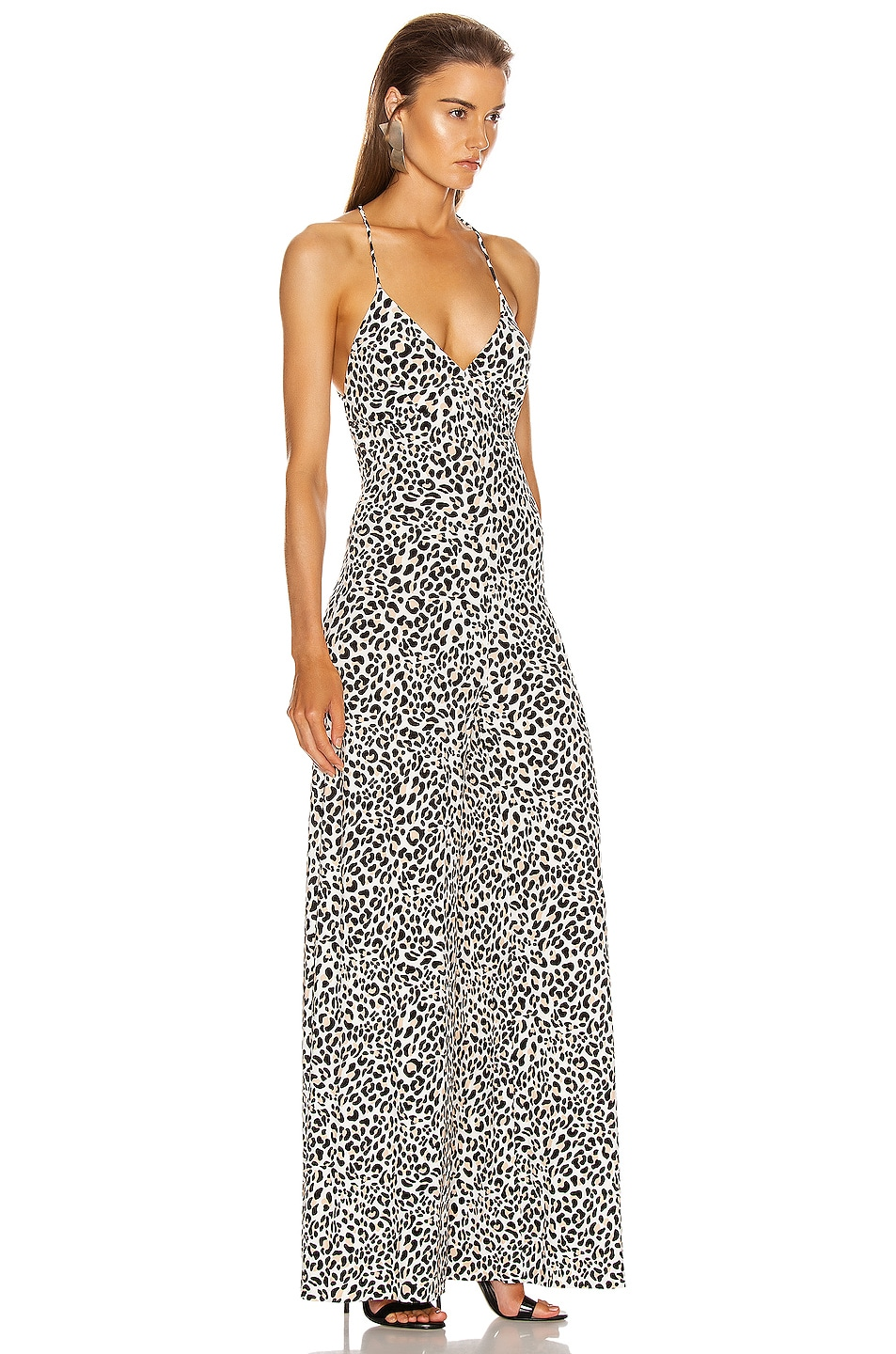 Image 2 of Norma Kamali Low Back Slip Jumpsuit in Baby Leopard
