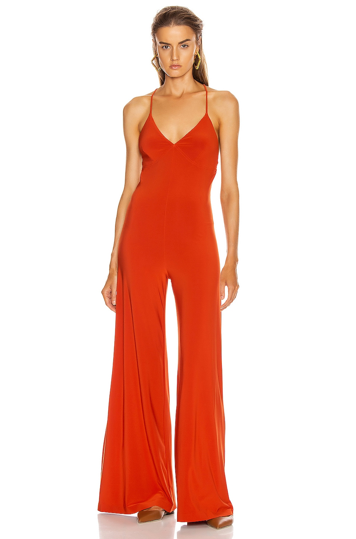 Image 1 of Norma Kamali Low Back Slip Jumpsuit in Cinnamon