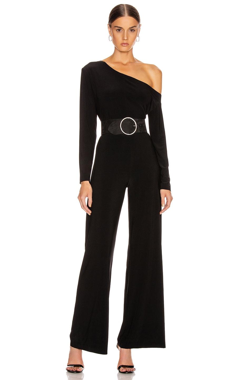 Norma Kamali Suits Long Sleeve Drop Shoulder Jumpsuit