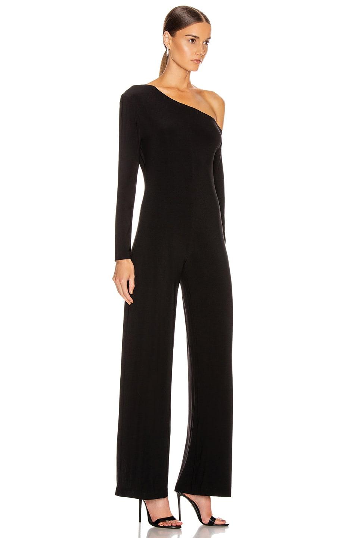 Image 2 of Norma Kamali Long Sleeve Drop Shoulder Jumpsuit in Black