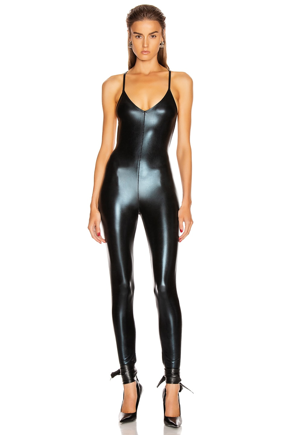 Image 1 of Norma Kamali Low Back Fara Slip Catsuit in Black Foil