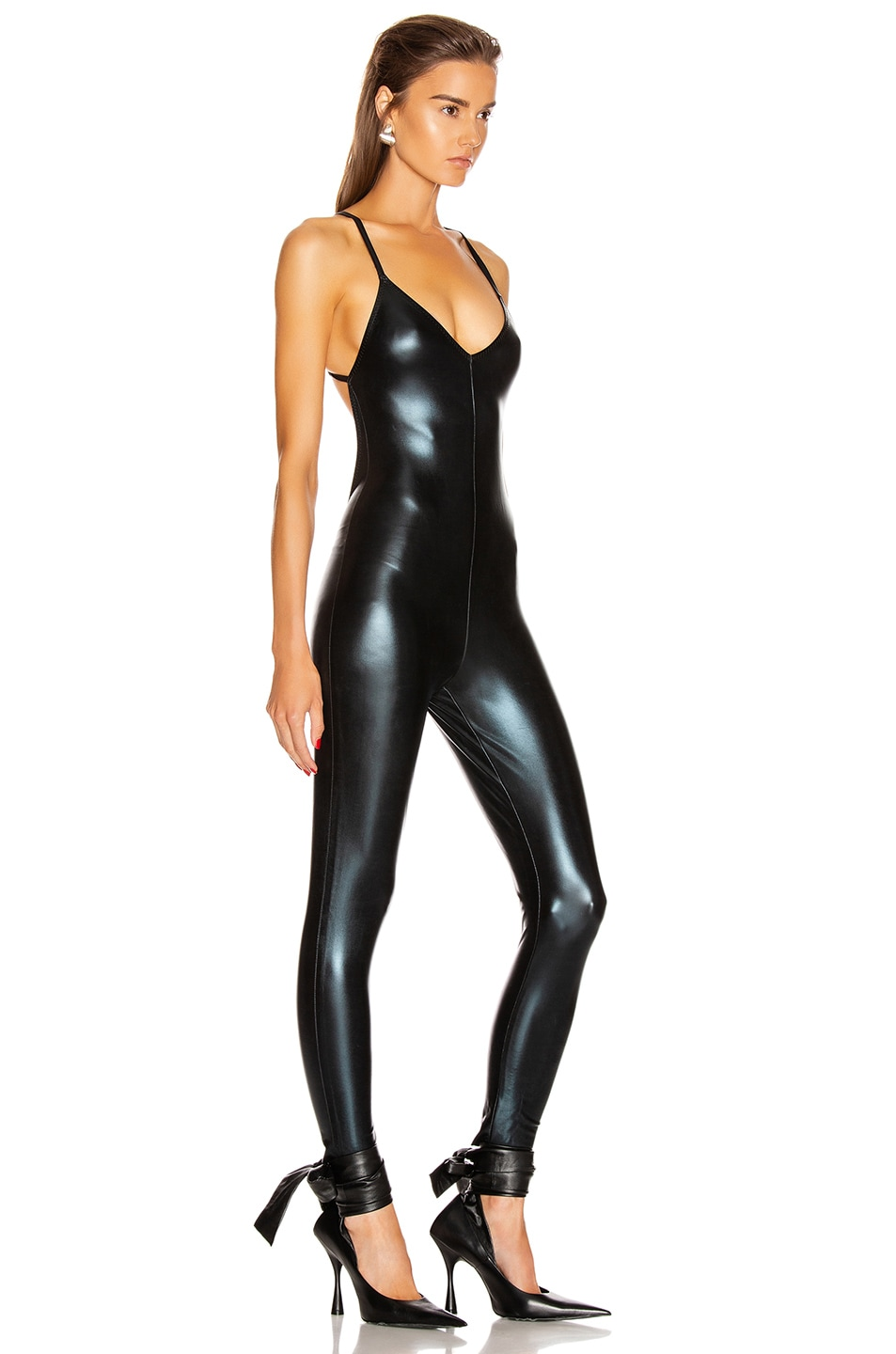 Image 2 of Norma Kamali Low Back Fara Slip Catsuit in Black Foil