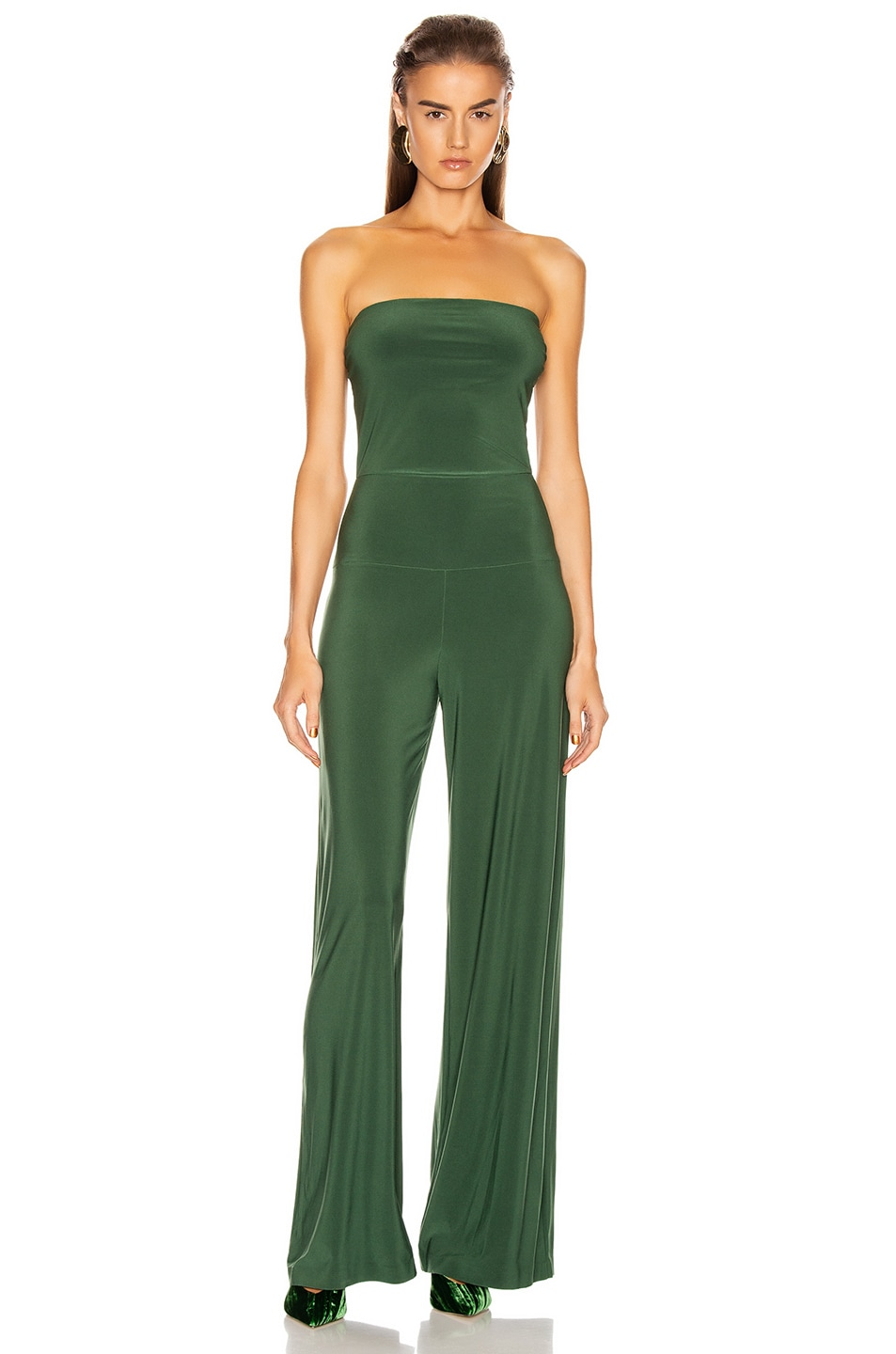 Image 1 of Norma Kamali Strapless Jumpsuit in Forest Green