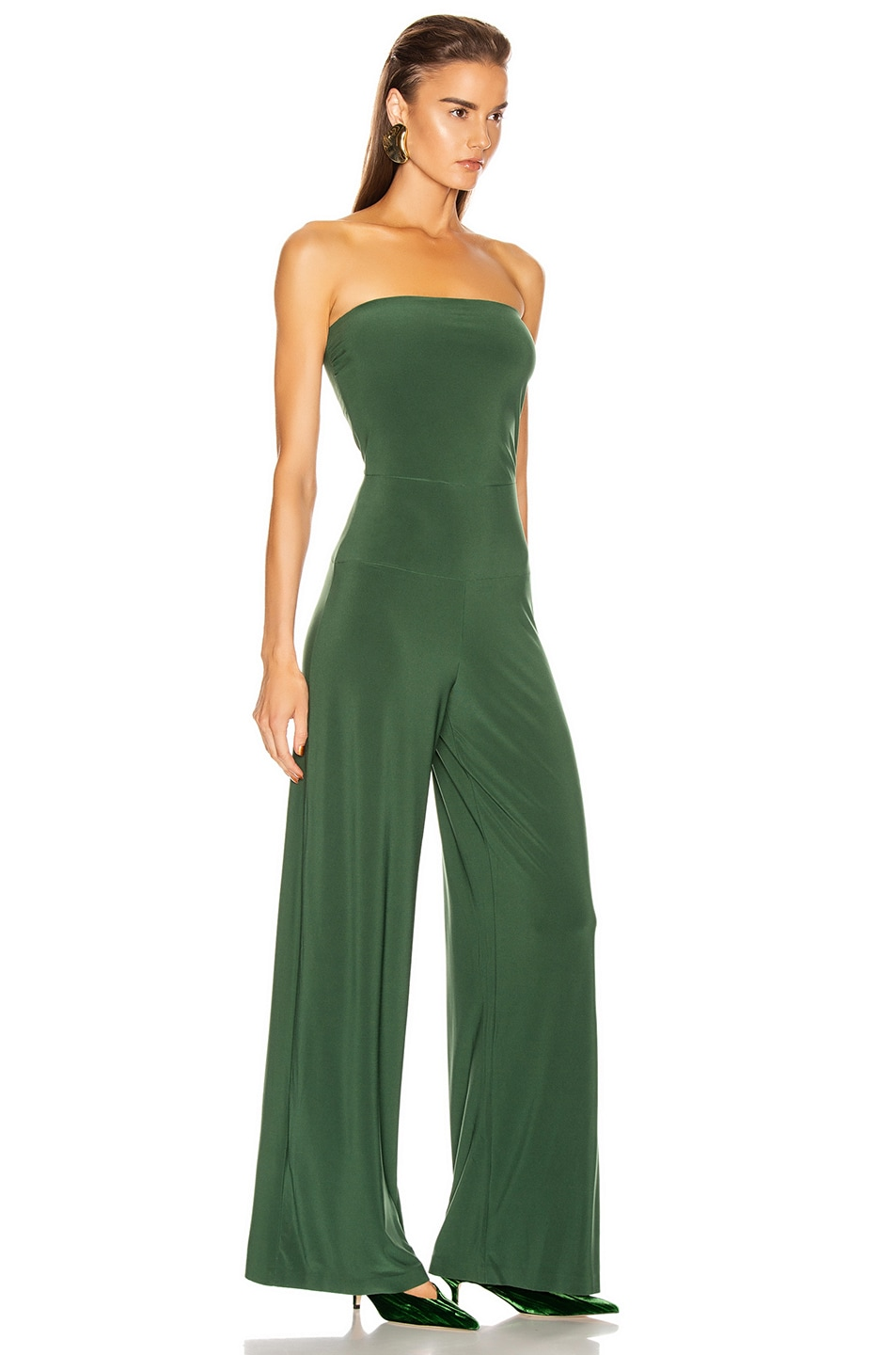 Image 2 of Norma Kamali Strapless Jumpsuit in Forest Green