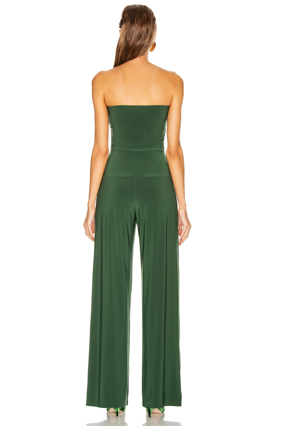 Image 3 of Norma Kamali Strapless Jumpsuit in Forest Green