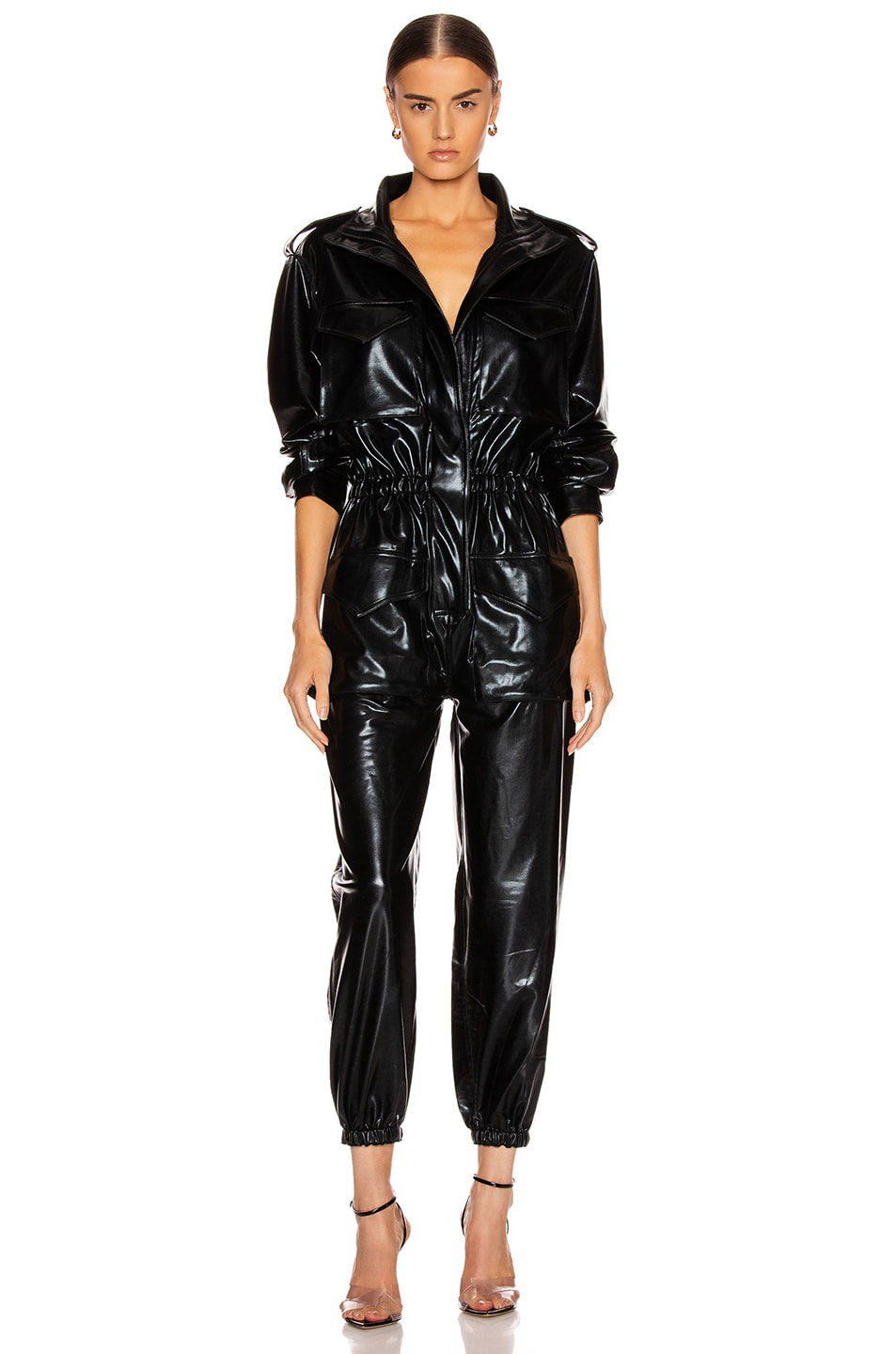 Image 1 of Norma Kamali Turtleneck Cargo Jumpsuit in Black Foil