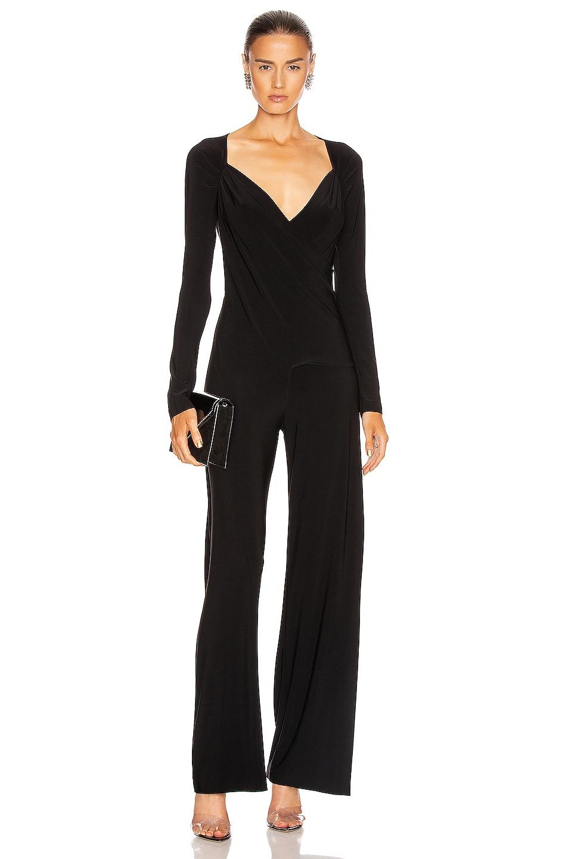 Image 1 of Norma Kamali Long Sleeve Sweetheart Side Drape Jumpsuit in Black