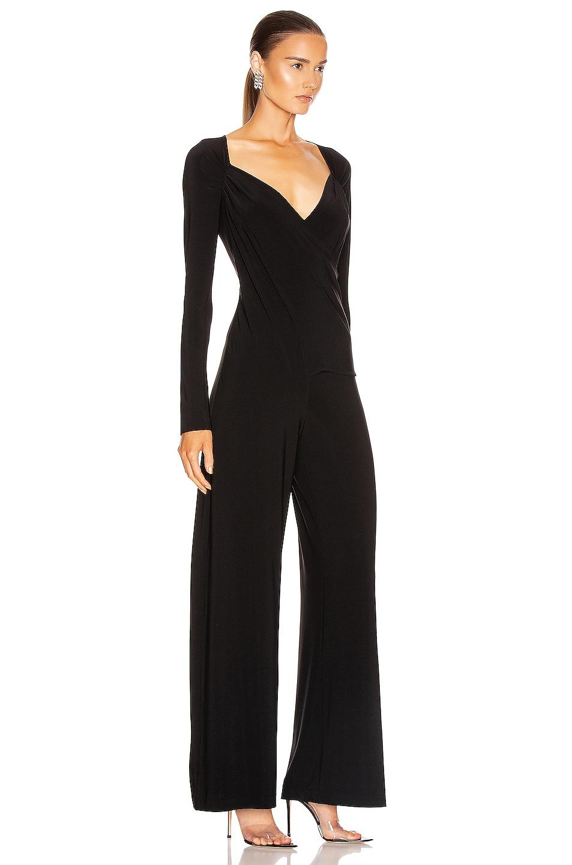 Image 2 of Norma Kamali Long Sleeve Sweetheart Side Drape Jumpsuit in Black