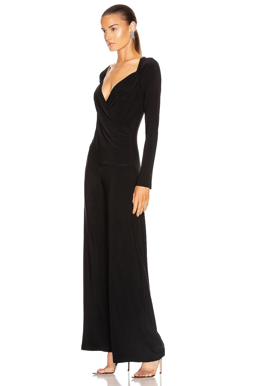 Image 3 of Norma Kamali Long Sleeve Sweetheart Side Drape Jumpsuit in Black