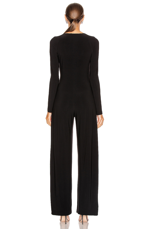 Image 4 of Norma Kamali Long Sleeve Sweetheart Side Drape Jumpsuit in Black