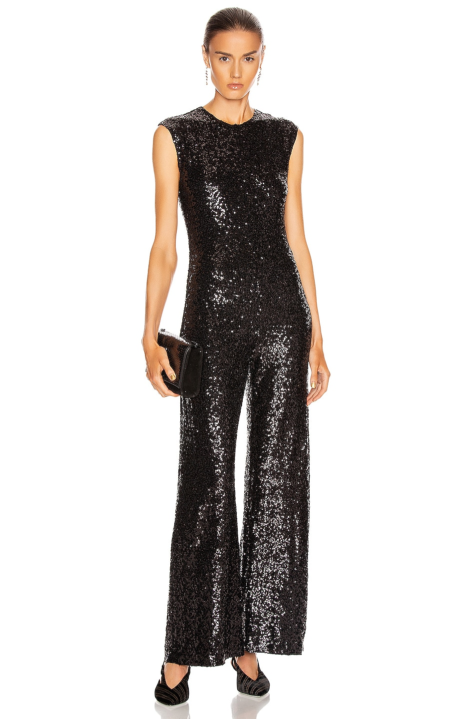 Image 1 of Norma Kamali Overlapping Sequin Sleeveless Jumpsuit in Black