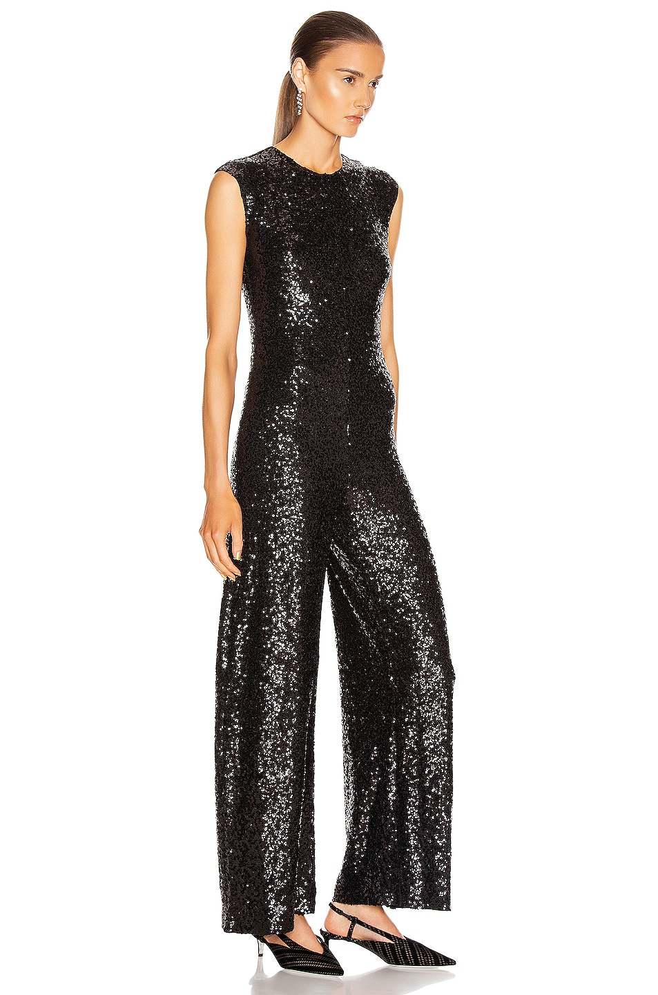 Image 2 of Norma Kamali Overlapping Sequin Sleeveless Jumpsuit in Black