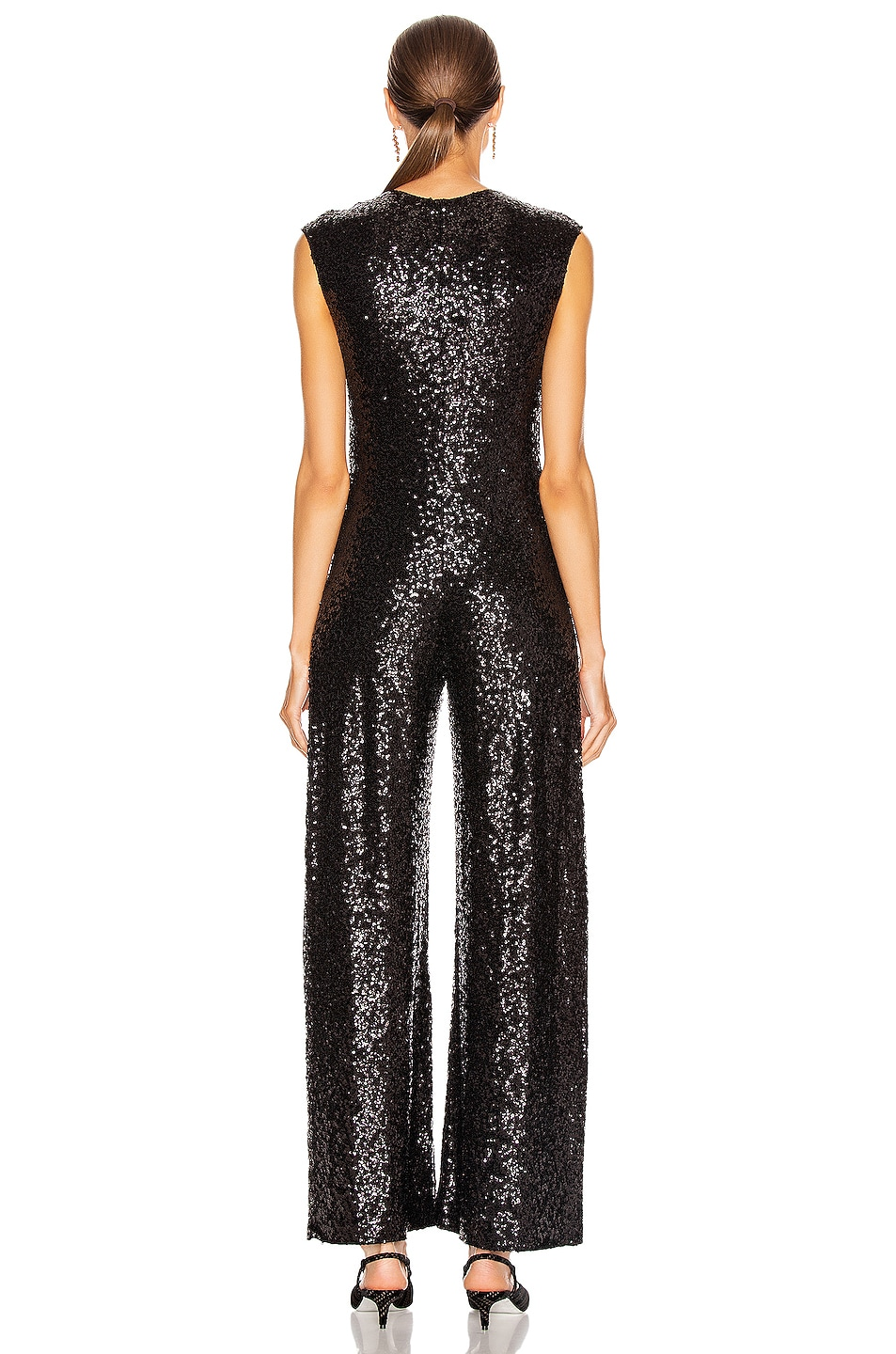 Image 3 of Norma Kamali Overlapping Sequin Sleeveless Jumpsuit in Black