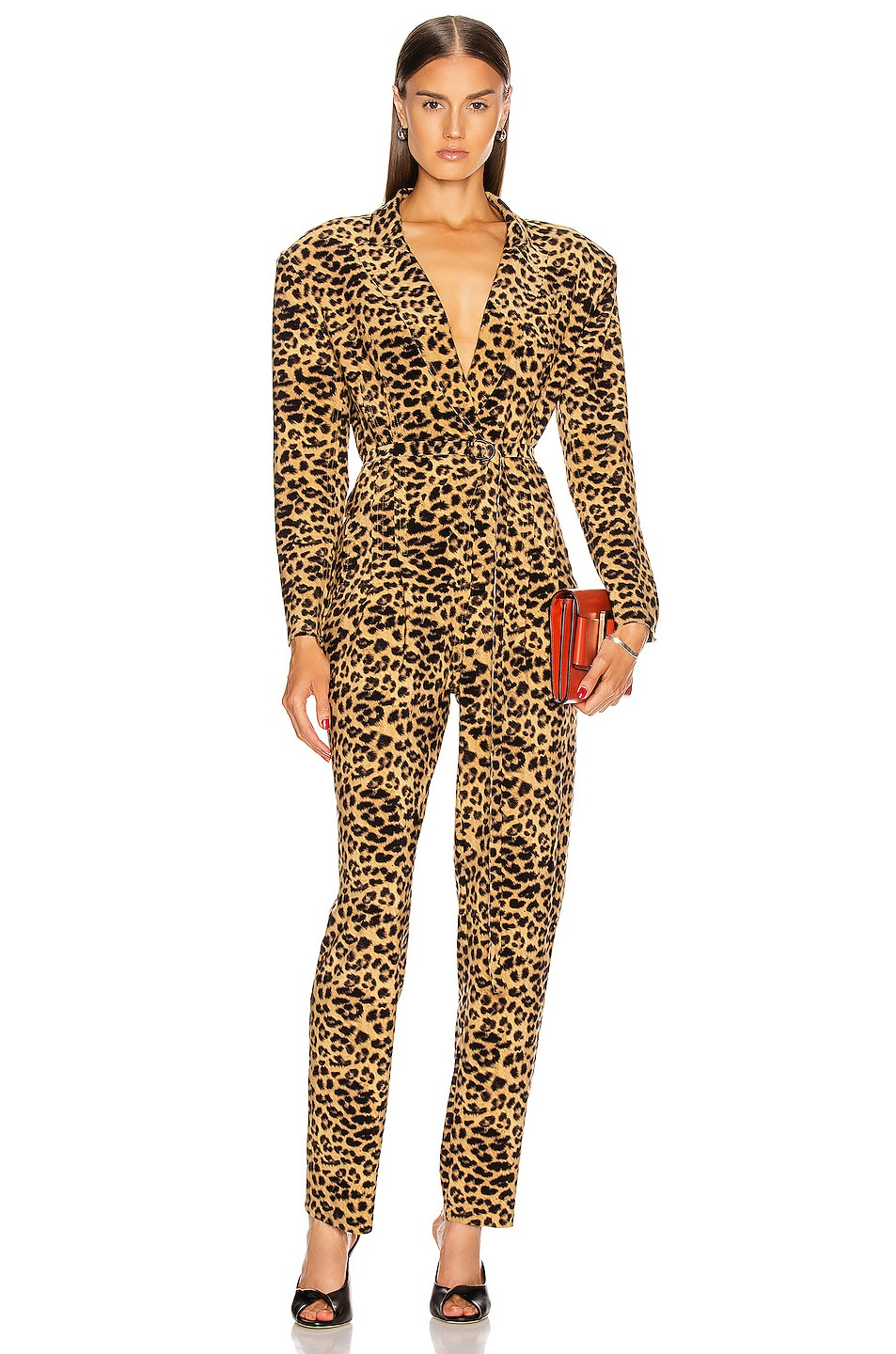 Image 1 of Norma Kamali Single Breasted Tapered Leg Jumpsuit in Golden Leopard