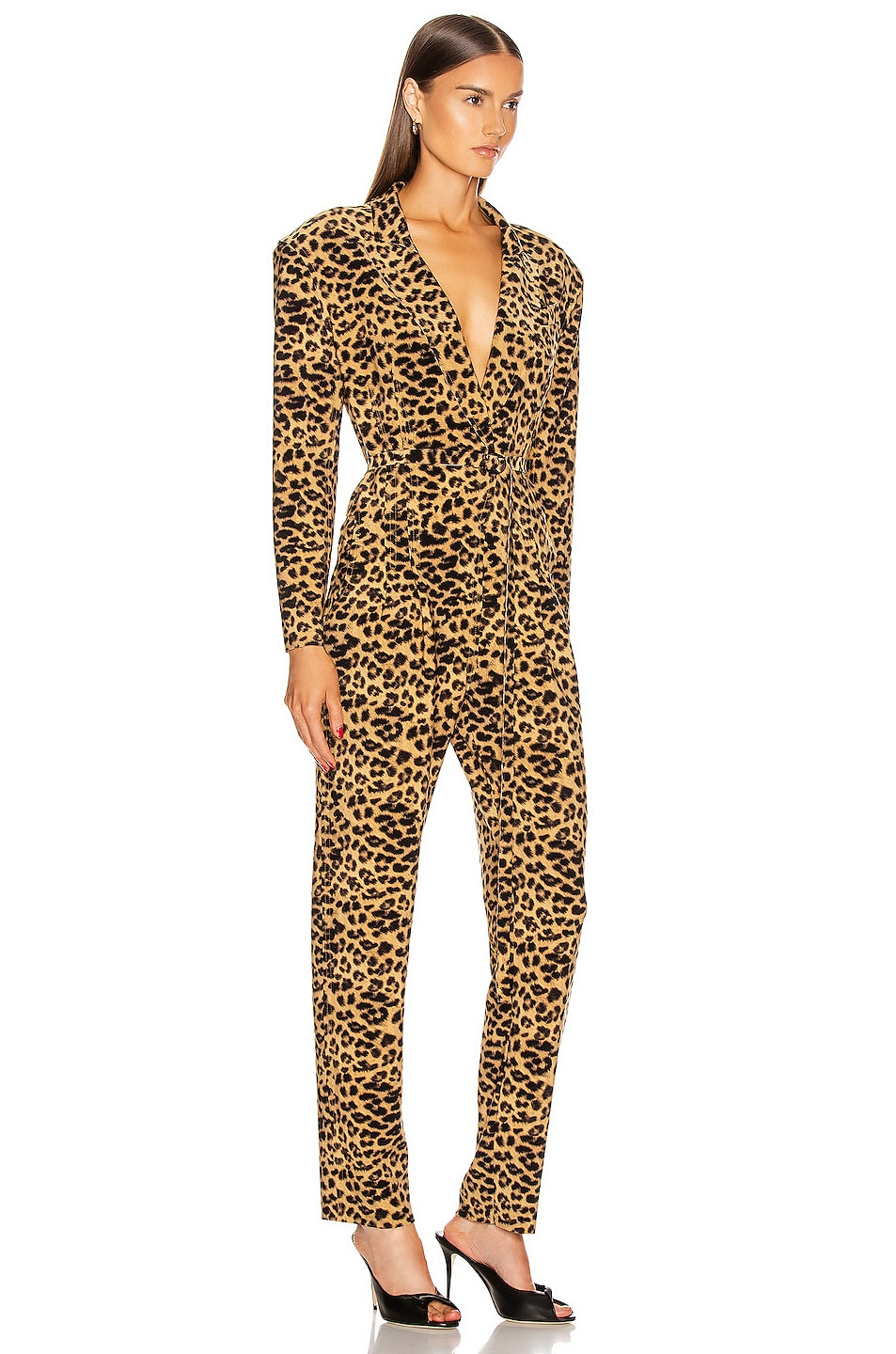 Image 2 of Norma Kamali Single Breasted Tapered Leg Jumpsuit in Golden Leopard
