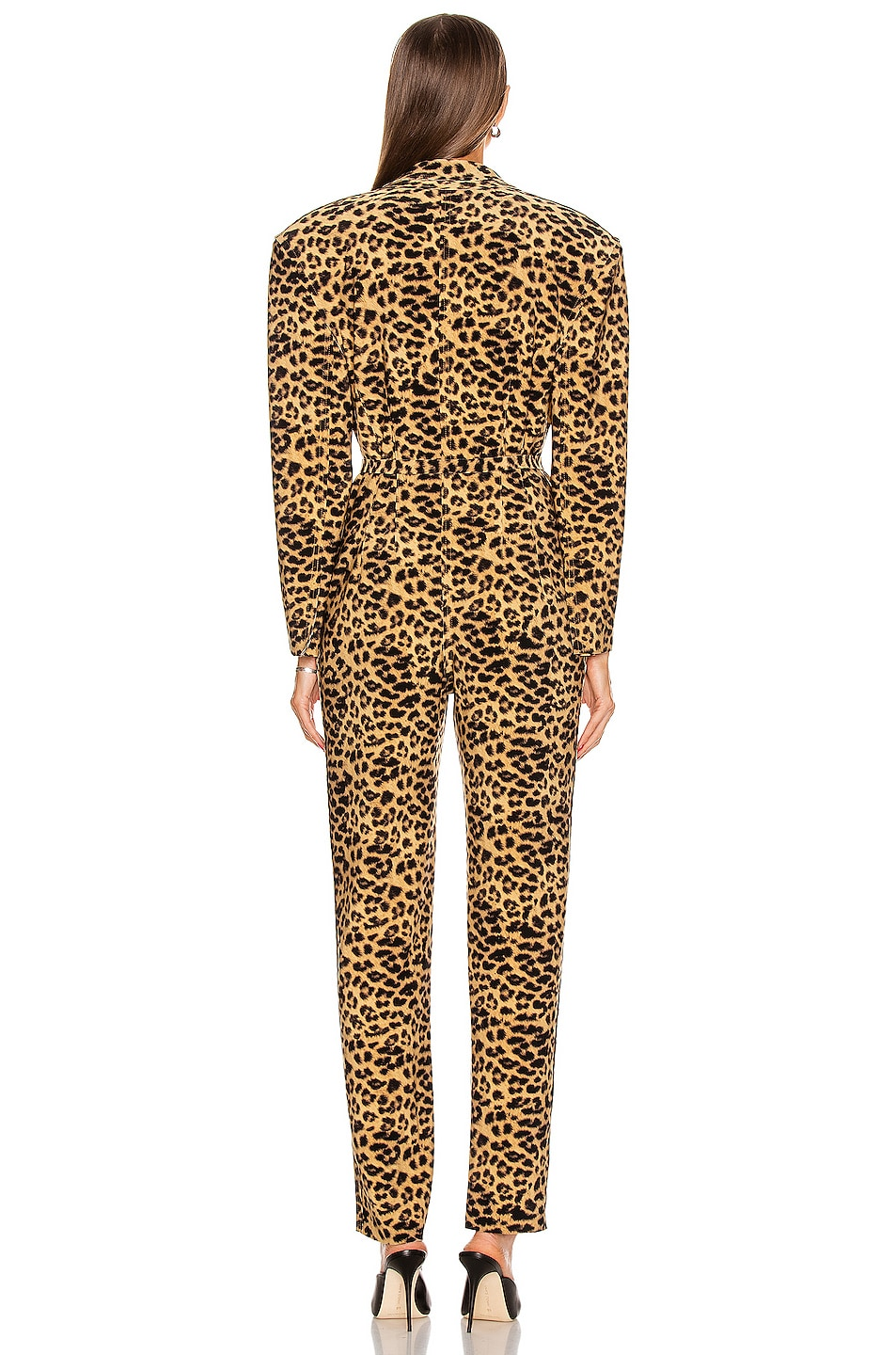 Image 3 of Norma Kamali Single Breasted Tapered Leg Jumpsuit in Golden Leopard