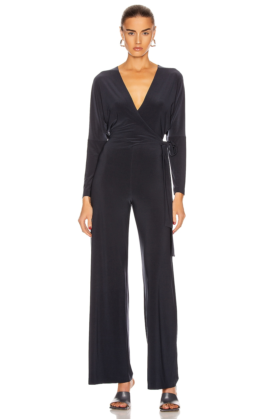 Image 1 of Norma Kamali Dolman Wrap Jumpsuit in Pewter