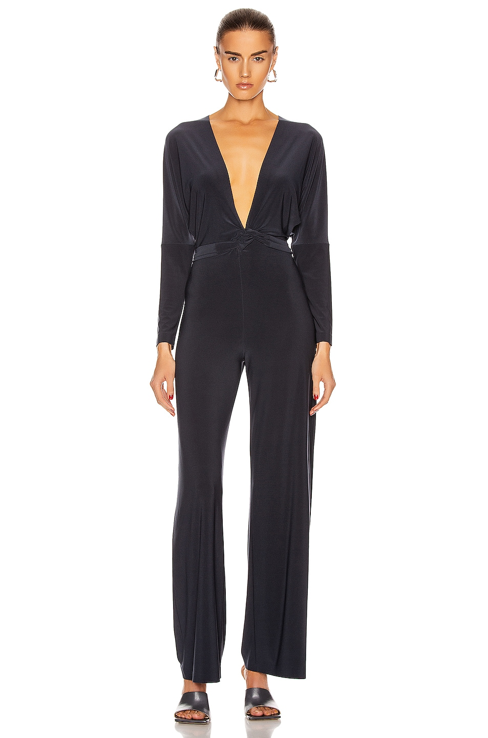 Image 3 of Norma Kamali Dolman Wrap Jumpsuit in Pewter