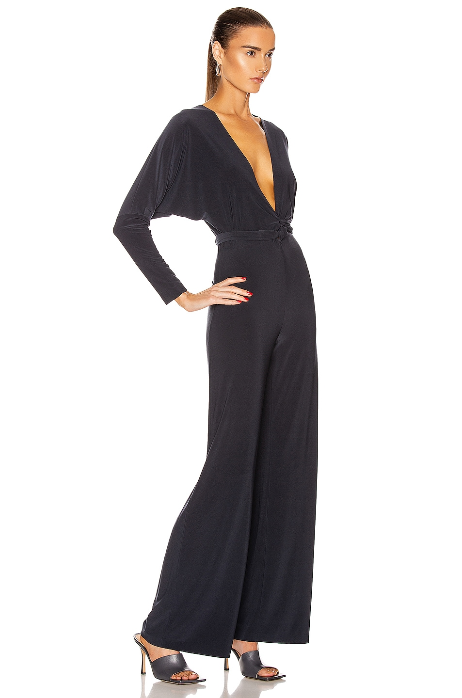 Image 4 of Norma Kamali Dolman Wrap Jumpsuit in Pewter