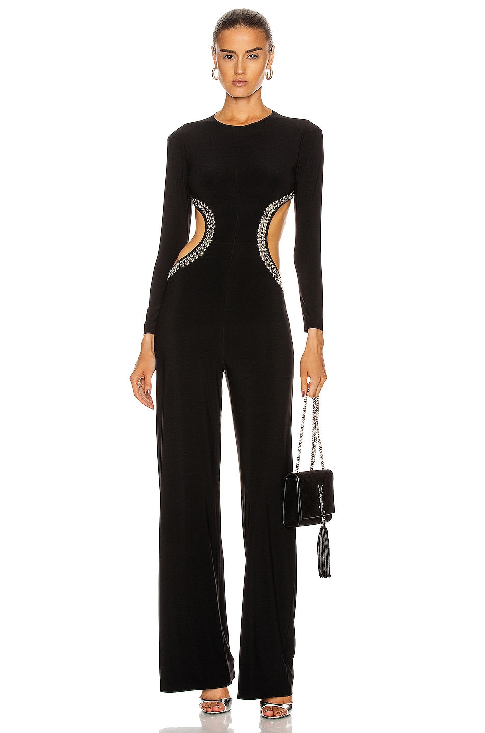 Image 1 of Norma Kamali Stud Long Sleeve Side Cut Out Jumpsuit in Black