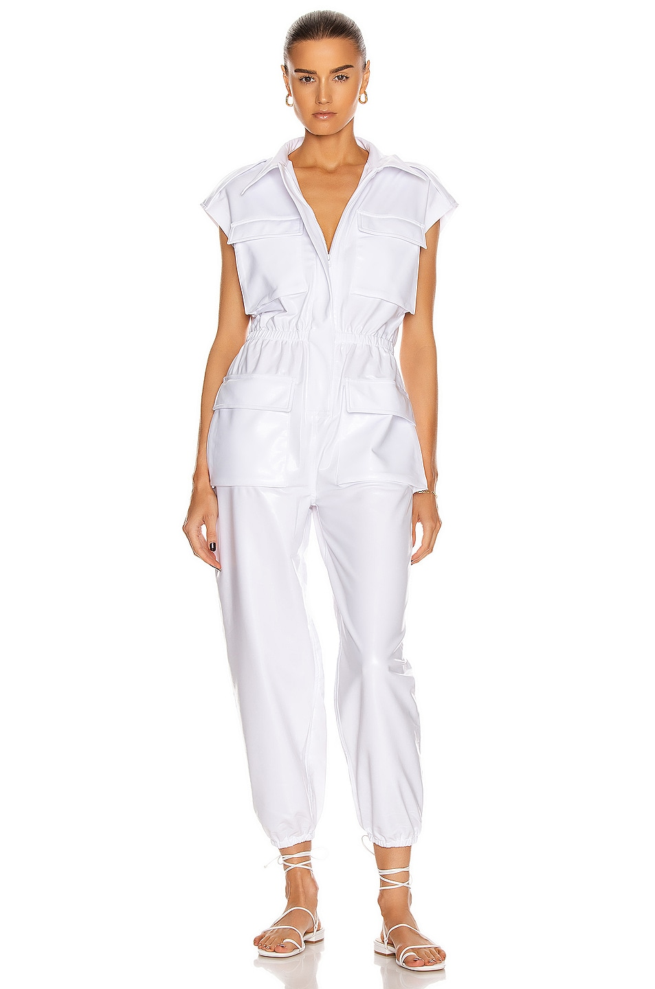 Image 1 of Norma Kamali Sleeveless NK Cargo Jumpsuit in White Foil