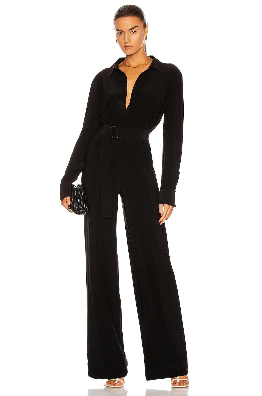 Image 1 of Norma Kamali Shirt Straight Leg Jumpsuit in Black