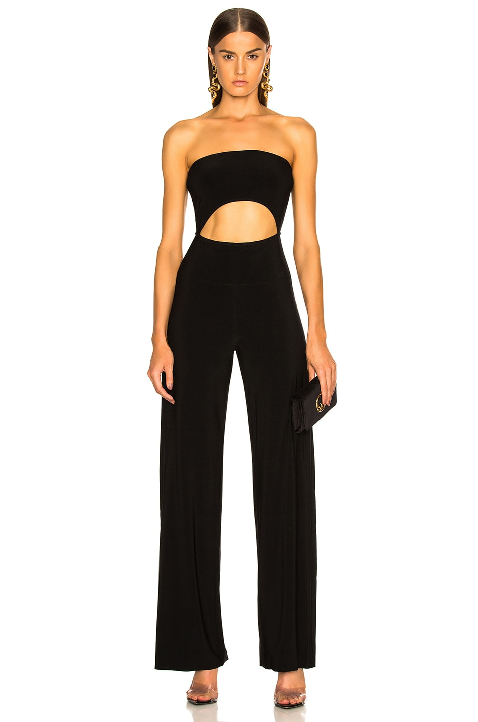 Image 1 of Norma Kamali Strapless Cut Out Jumpsuit in Black