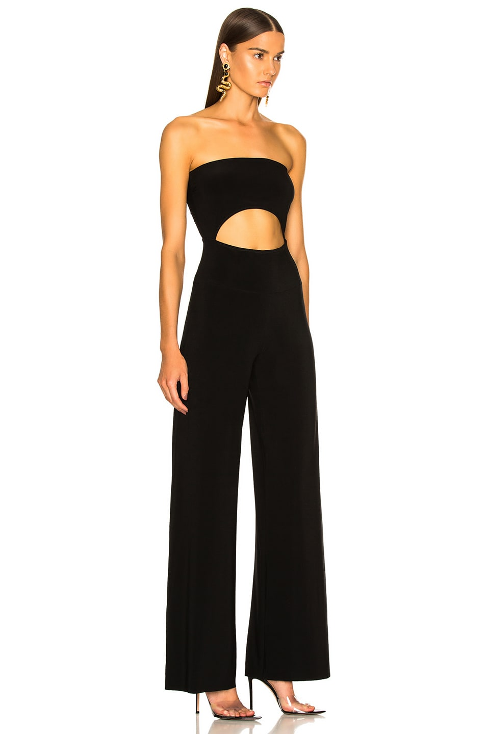 Image 2 of Norma Kamali Strapless Cut Out Jumpsuit in Black