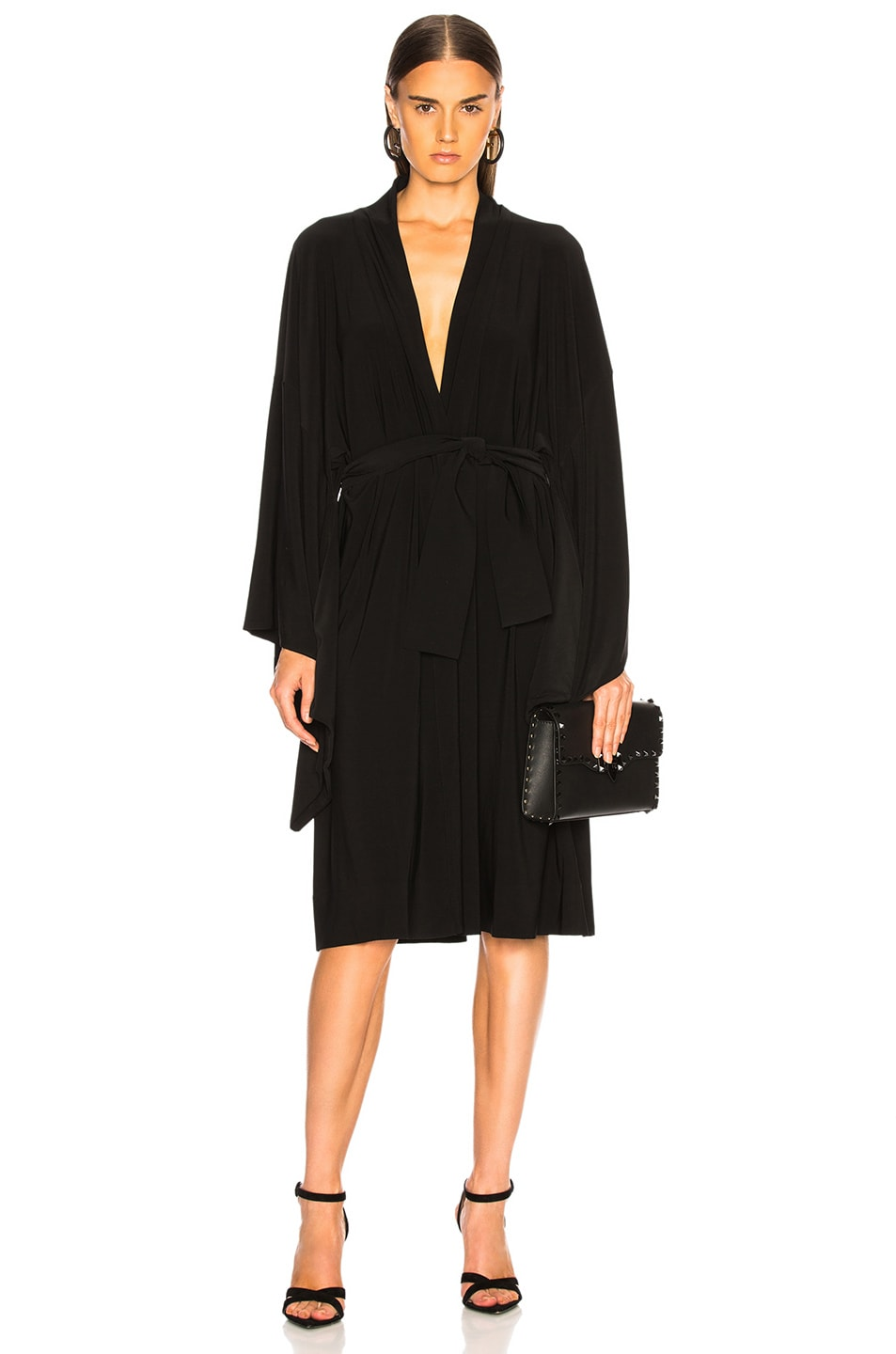 Image 1 of Norma Kamali for FWRD Midcalf Wrap Dress in Black