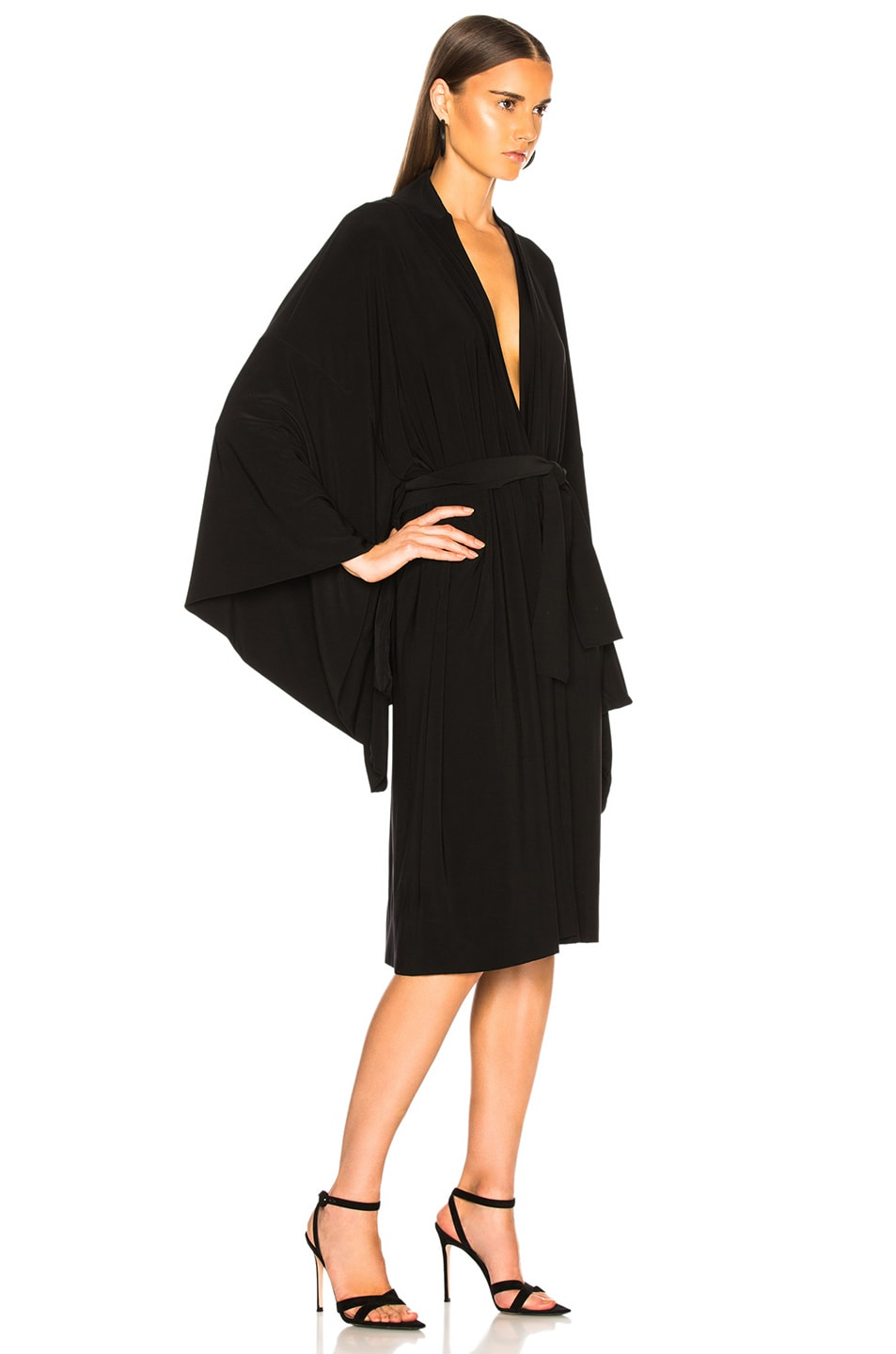 Image 2 of Norma Kamali for FWRD Midcalf Wrap Dress in Black