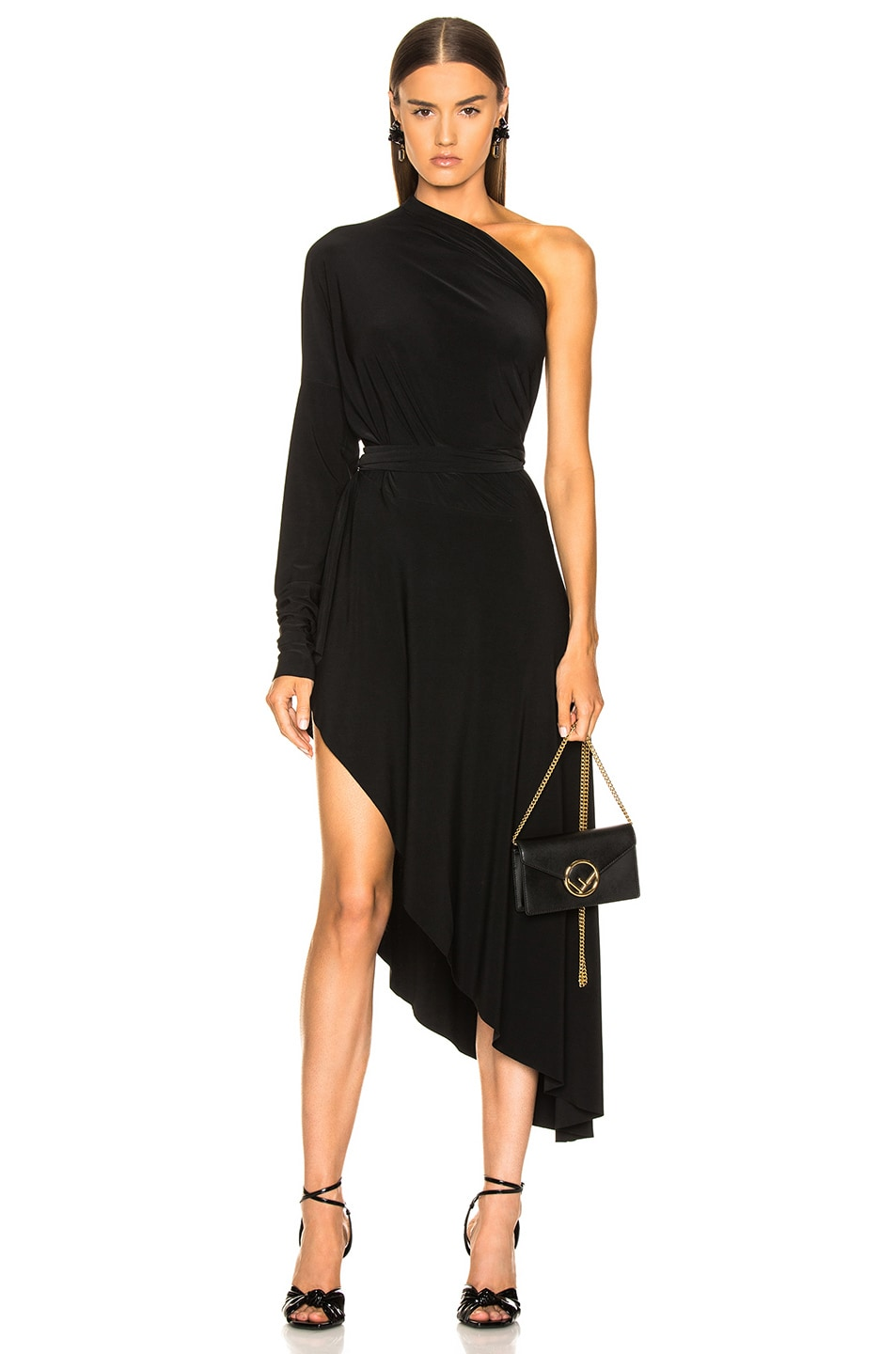 Image 1 of Norma Kamali All In One Hi Low Dress in Black