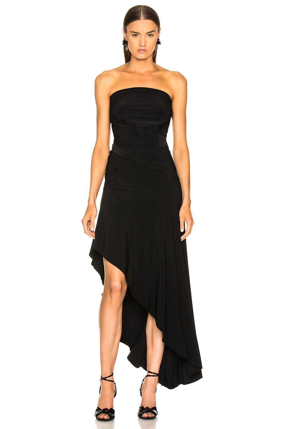 Image 2 of Norma Kamali All In One Hi Low Dress in Black