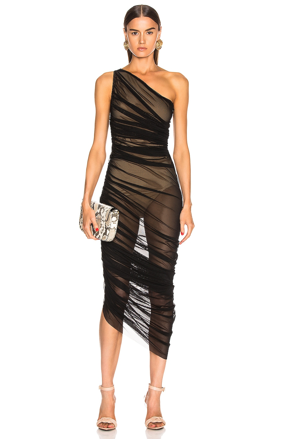 Image 1 of Norma Kamali Diana Gown in Black Mesh