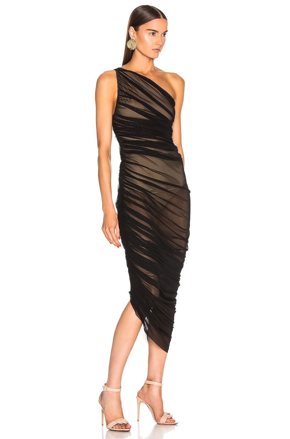 Image 2 of Norma Kamali Diana Gown in Black Mesh