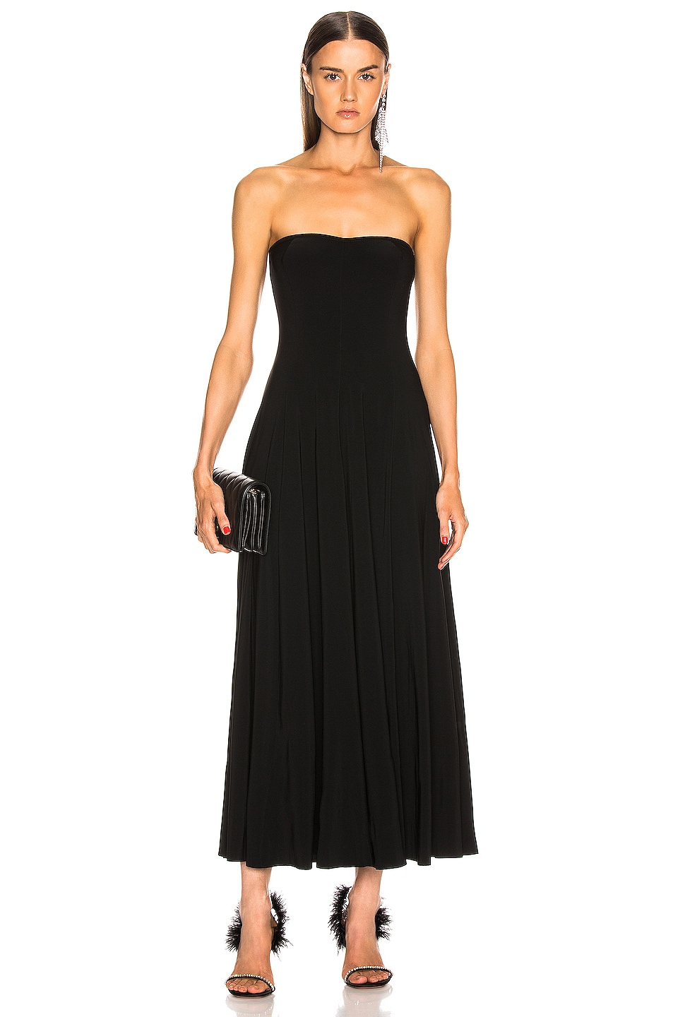 Image 1 of Norma Kamali Strapless Flared Midcalf Dress in Black