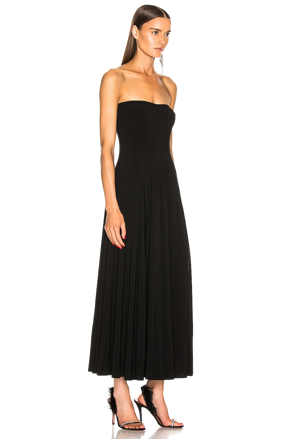 Image 2 of Norma Kamali Strapless Flared Midcalf Dress in Black