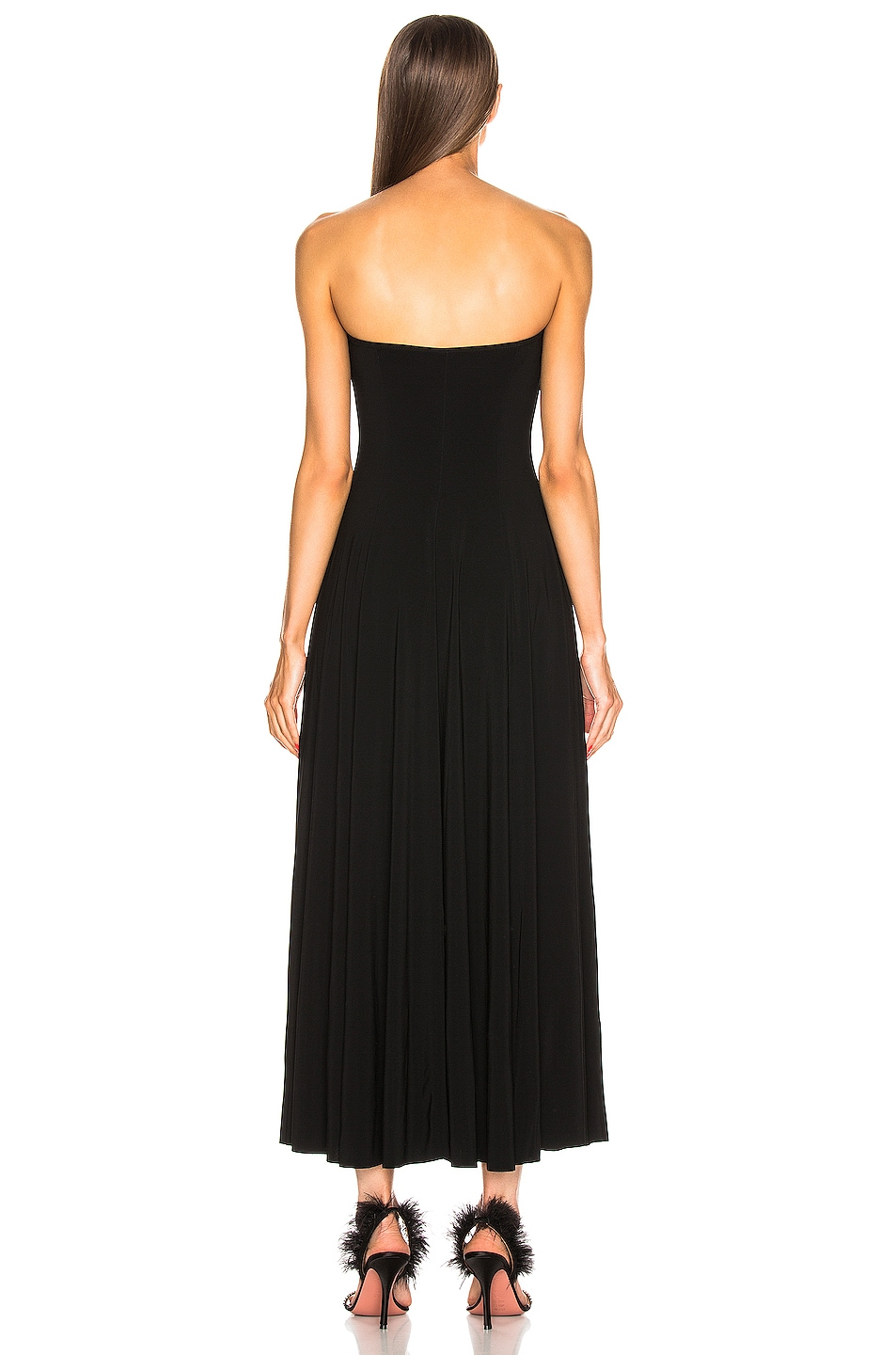 Image 3 of Norma Kamali Strapless Flared Midcalf Dress in Black
